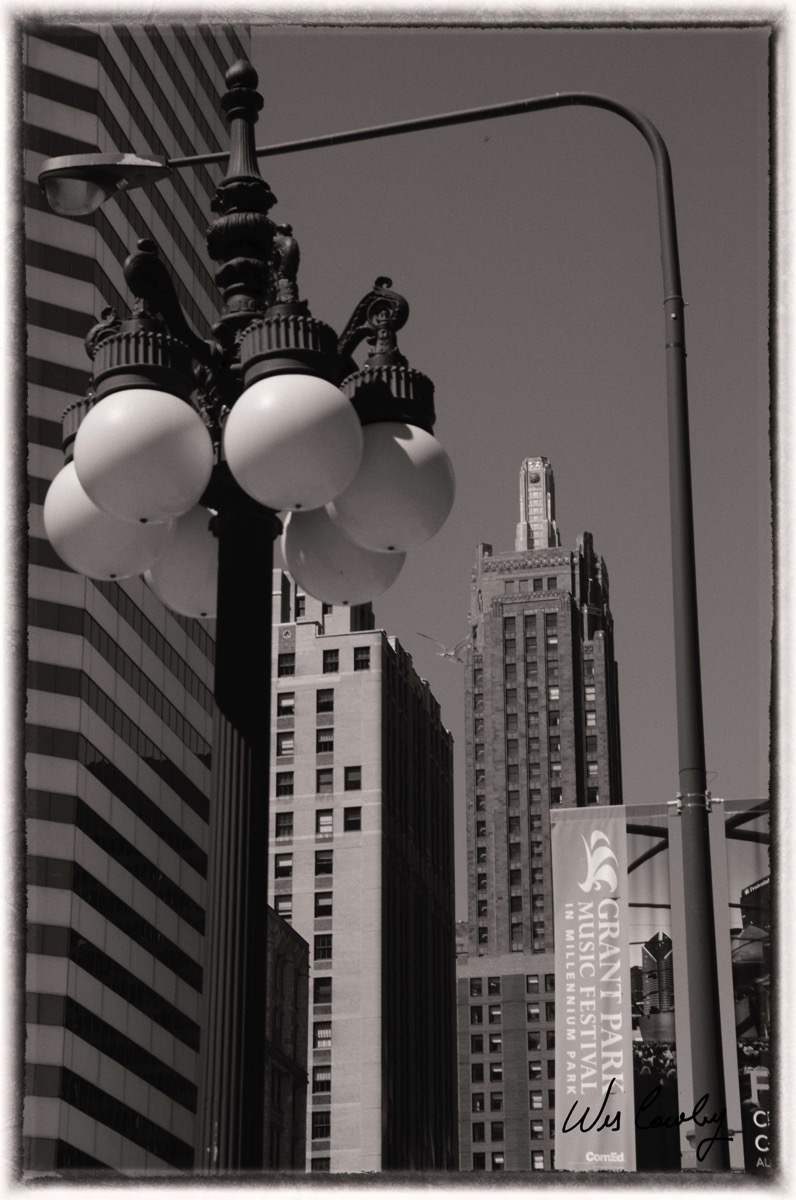 Streetlights and buildings nik silver signed