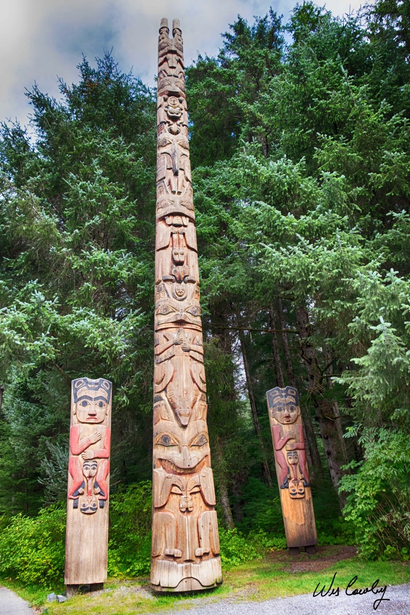 Three totems at Sitka signed