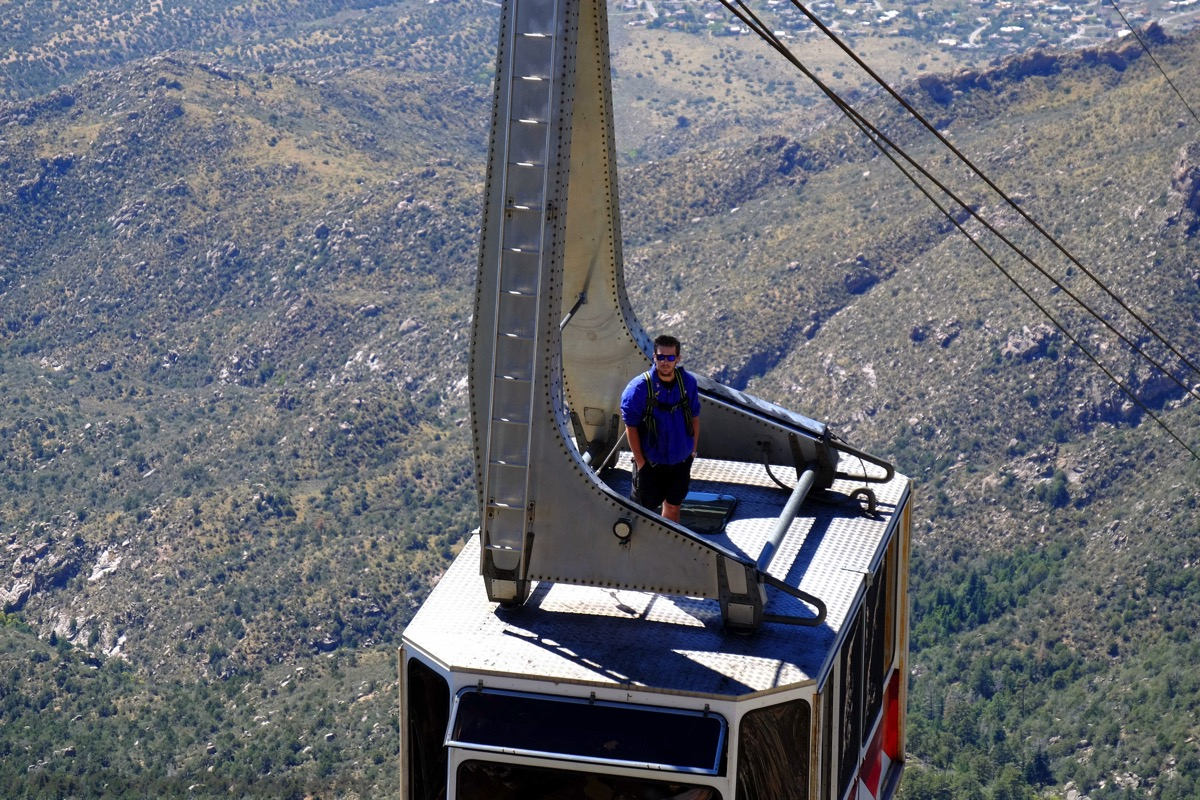 Dummy on top of cable car