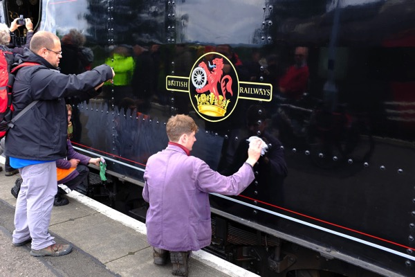 Polishing the train